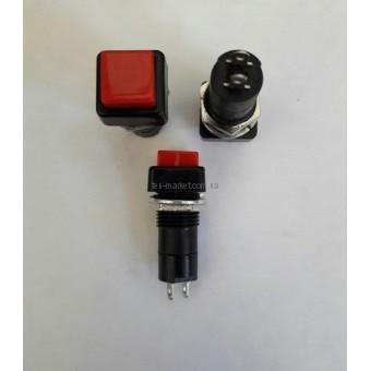 Кнопка нажимная средняя с фиксации, квадратная 3A 250V