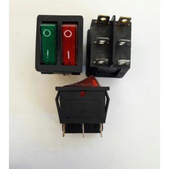 Кнопочный выключатель, Клавиша широкая двойная, с подсветкой 220V красный+зеленый