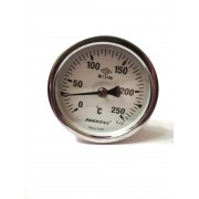 "Термометр биметаллический Pakkens ø63мм / Tmax=250°С / Трубка 100мм / Резьба 1/2"" / Турция"