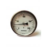 "Термометр биметаллический Pakkens ø100мм / Tmax=200°С / Трубка 100мм / Резьба 1/2"" / Турция"