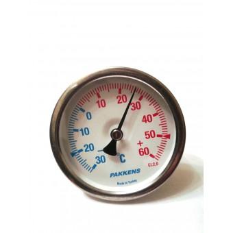 Термометр биметаллический Pakkens ø63мм / Tmax от -30 до 60°С / гильза L=50мм / Турция купить в Украине