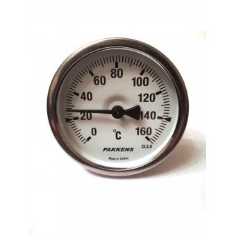 "Термометр биметаллический Pakkens ø63мм / Tmax=160°С / Трубка 50мм / Резьба 1/2"" / Турция купить в Украине"