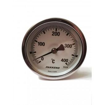 "Термометр биметаллический Pakkens ø63мм / Tmax=400°С / Трубка 100мм / Резьба 1/2"" / Турция купить в Украине"