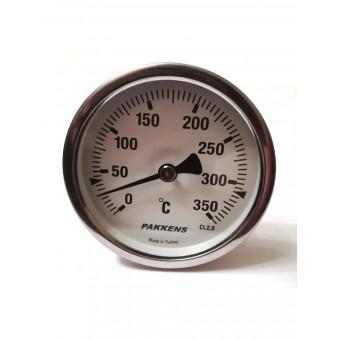 "Термометр биметаллический Pakkens ø63мм / Tmax=350°С / Трубка 100мм / Резьба 1/2"" / Турция купить в Украине"