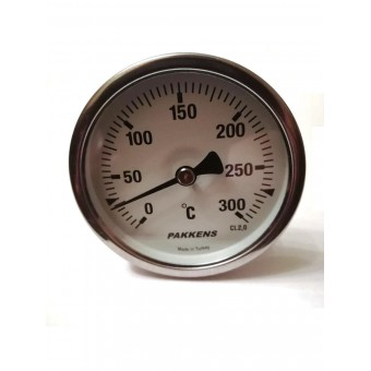 "Термометр биметаллический Pakkens ø63мм / Tmax=300°С / Трубка 100мм / Резьба 1/2"" / Турция купить в Украине"