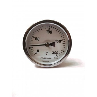 "Термометр биметаллический Pakkens ø63мм / Tmax=200°С / Трубка 100мм / Резьба 1/2"" / Турция купить в Украине"