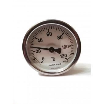 "Термометр биметаллический Pakkens ø63мм / Tmax=120°С / Трубка 100мм / Резьба 1/2"" / Турция купить в Украине"