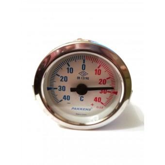 Термометр биметаллический Pakkens ø60мм / Tmax=от -40 до +40°С / длинна капилляра 1м / Турция купить в Украине
