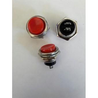 Кнопка питания BOSH нажимная круглая без фиксации, 2-х контактная,OFF-(ON), 3A 125V, металлический корпус.