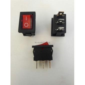 Кнопочный выключатель, Клавиша мини, 3 контакта, с фиксацией с подсветки
