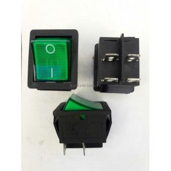 Кнопочный выключатель, переключатель клавишный.  Клавиша широкая, с подсветкой