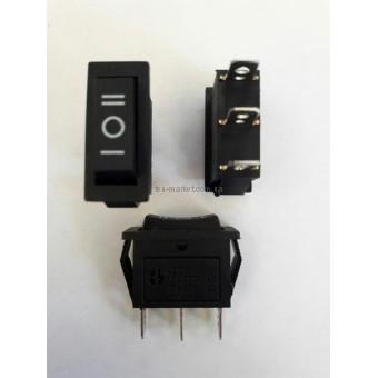 Кнопочный выключатель, переключатель клавишный.  Клавиша узкая 3 положения без фиксацией