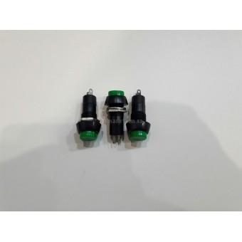 Кнопка нажимная средняя без фиксации, круглая 3A 250V (зеленый)