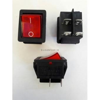 Кнопочный выключатель, Клавиша широкая, с подсветкой с фиксацией  15А