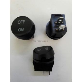 Кнопочный выключатель, Клавиша крглаяON-OFF, 2 контакта, с фиксацией